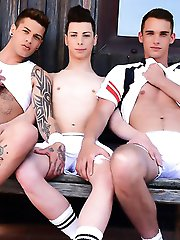 Staxus - Outdoors: Two Hot Tennis Studs Give Their Buddy A Stiff Spit-Roasting & A Face-Load Of Hot Spunk!