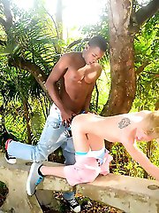 Staxus - Outdoors: Cute White Boy Cums Face-To-Face With Devon LeBron's Ass-Splitting Trouser-Snake!